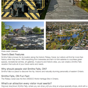 "WOW! Smiths Falls ""top 50 towns in Canada"""